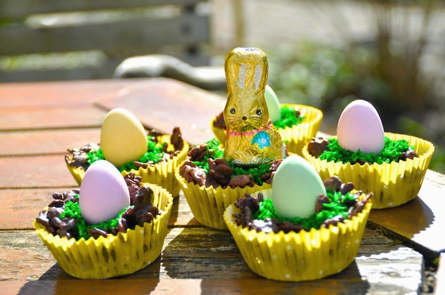 Osternest aus Schokolade selbst gemacht